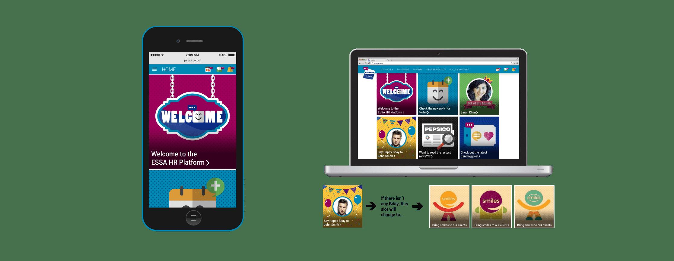 Ejemplo de la home de una web desarrollada para Pepsico