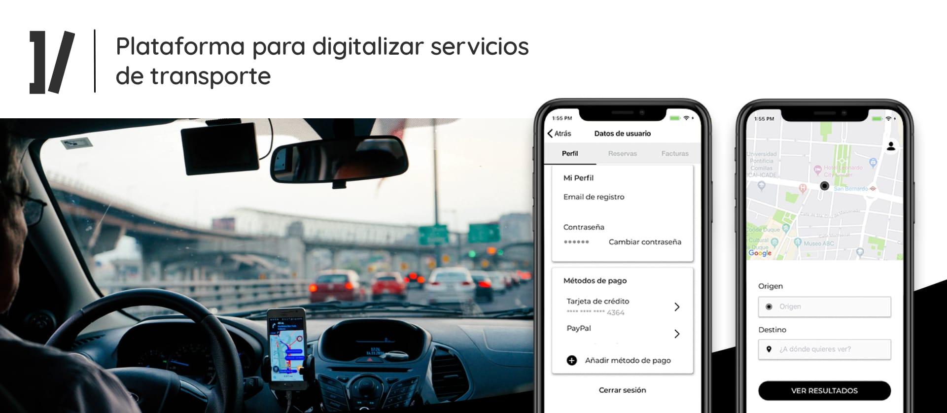 App servicios de transporte de pasajeros